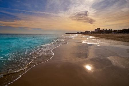 El Campello beach Muchavista playa in Alicante at Costa Blanca of Spain 스톡 콘텐츠