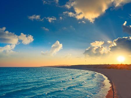 Guardamar del Segura Dunas beach at sunset in alicante of Spain Фото со стока - 115798798
