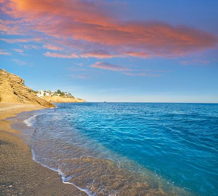 La Caleta beach playa in Villajoyosa of Alicante in Spain also Vila Joiosa at Costa Blanca Фото со стока - 115801030