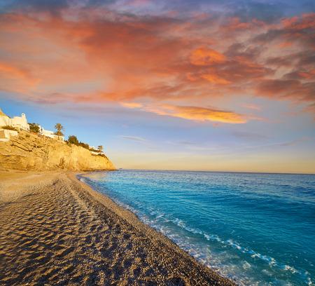 Esparrello beach playa in Villajoyosa of alicante in Spain also Asparrallo in Vila Joiosa at Costa Blanca Фото со стока - 115801508