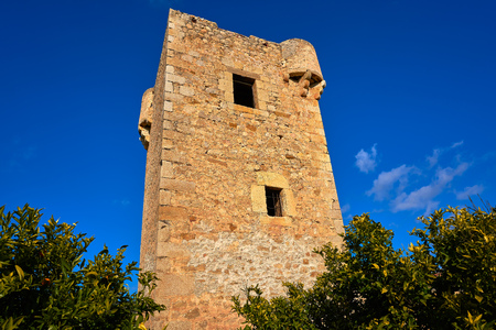 Watchtower Gats vigia in Cabanes of Castellon in Spain Stock Photo