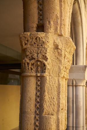 Santa Tecla old hospital columns detail in Tarragona of Catalonia