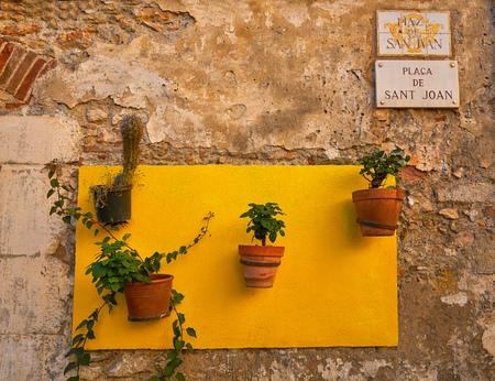 Tarragona Sant Joan Square plant pots in Catalonia 版權商用圖片