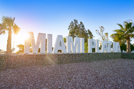 Miami Platja welcome road sign in Tarragona at Costa Daurada of Catalonia