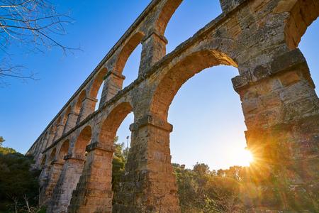 Aqueduct Les Ferreres o Pont del Diable in Tarragona of Catalonia Roman