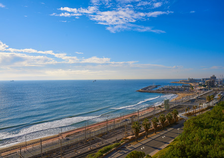 El Miracle beach and Port of Tarragona aerial at Costa Dorada in Catalonia 版權商用圖片