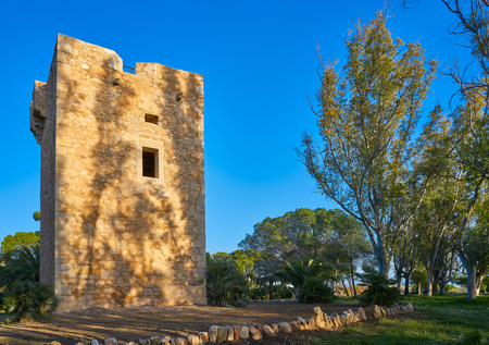 Torre de la Sal vigia tower in Cabanes of Castellon in Spain 版權商用圖片
