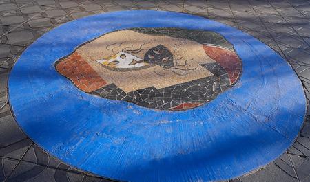 Theater tribute mosaic in Rambla Nova floor of Tarragona at Catalonia 版權商用圖片