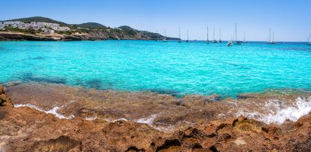 Ibiza Cala Tarida beach in Sant Josep of Balearic Islands Фото со стока