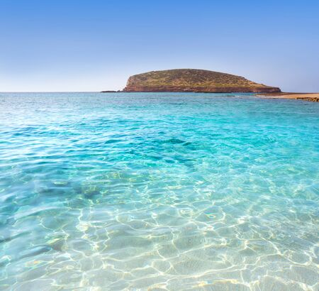 Ibiza Cala Comte Conta beach in Sant Josep of Balearic Islands