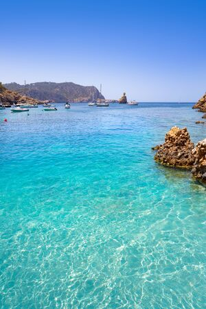 Cala Benirras beach of Ibiza in Sant Joan of Balearic Islands