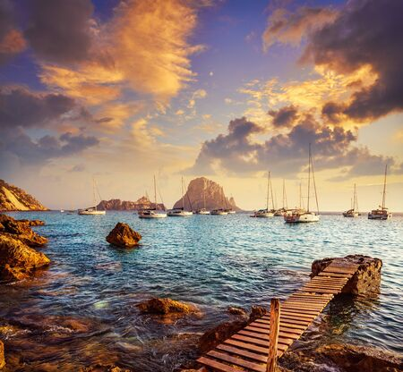Ibiza cala d Hort with Es Vedra islet sunset in Sant Josep of Balearic Islands