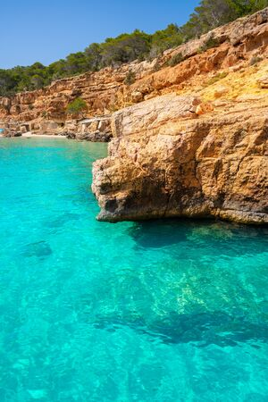 Ibiza Cala Salada and Saladeta in Balearic Islands of spain Фото со стока