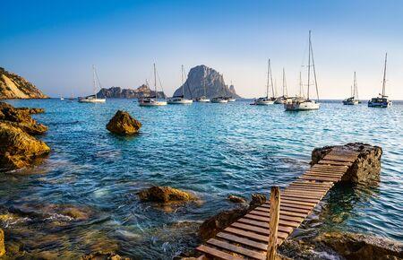 Ibiza cala d Hort with Es Vedra islet sunset in Sant Josep of Balearic Islands Stock fotó