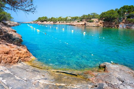 Ibiza Cala Gracio Gracioneta beach in San Antonio of Balearic Islands