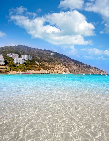 Ibiza Cala Llonga beach in Santa Eulalia in Balearic islands of Spain
