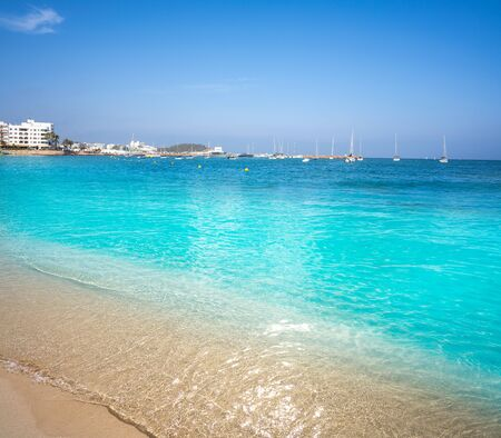 Ibiza Santa Eulalia town beach in Mediterranean Balearic Islands of Spain