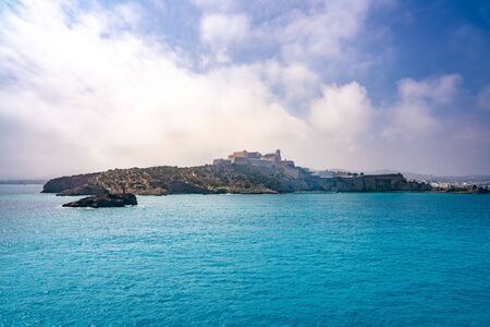 Ibiza Eivissa skyline view from the sea at Mediterranean Balearic Spain