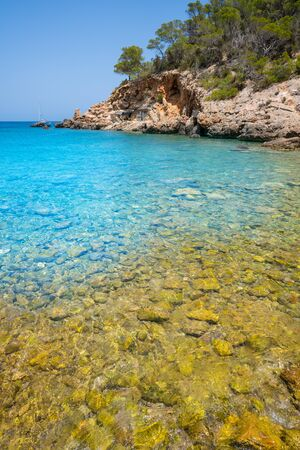 Cala Xuclar beach of Ibiza in Sant Joan of Balearic Islands