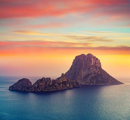 Es Vedra islet sunset in Sant Josep of Balearic Islands Stock fotó
