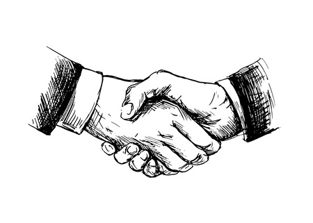 Drawing shake hands  Vector illustration Stock Illustratie