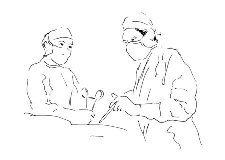 sketch two doctors operating  Vector illustration Vector