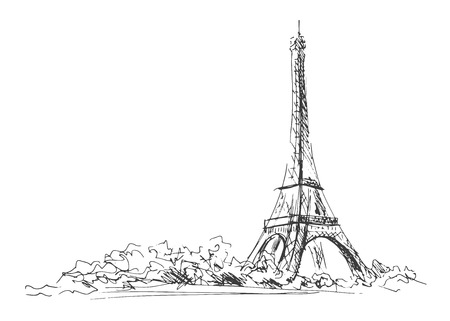 Hand sketch of the Eiffel Tower   Vector illustration