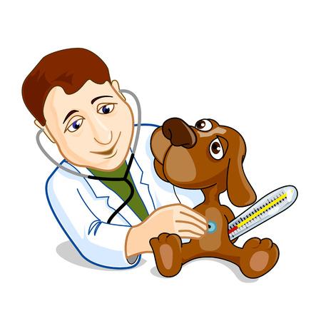 examining: Illustration of veterinarian examining dog
