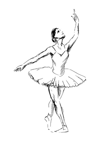 Sketch of dancing ballerinas. Vector