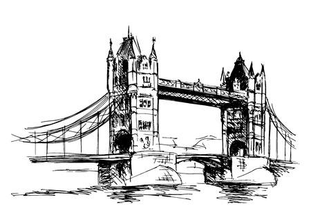 Sketch Tower Bridge. Vector illustration