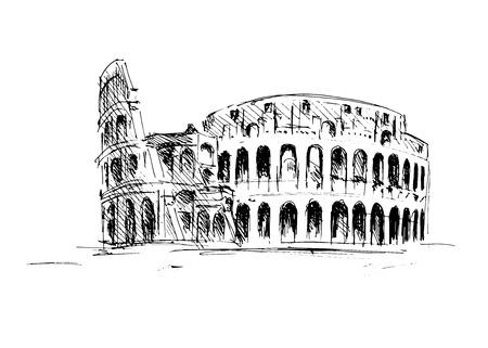 Sketch of the Roman Colosseum.  Stock Illustratie