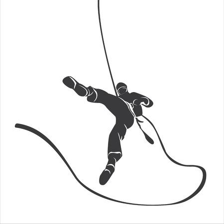 Silhouette of a climber abseil.  Vettoriali