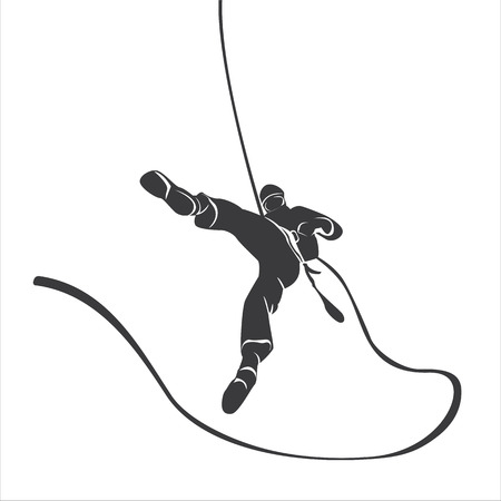 Silhouette of a climber abseil.  Vectores