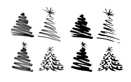 手スケッチ クリスマス ツリーの図  イラスト・ベクター素材