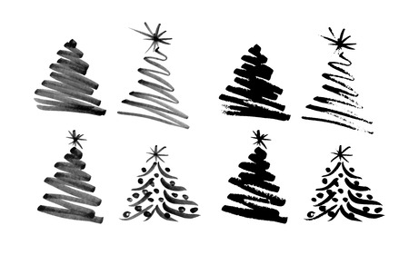 christmas element: Hand sketch Christmas tree illustration