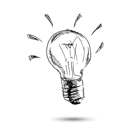 blue light: Hand drawing light bulb. Vector illustration