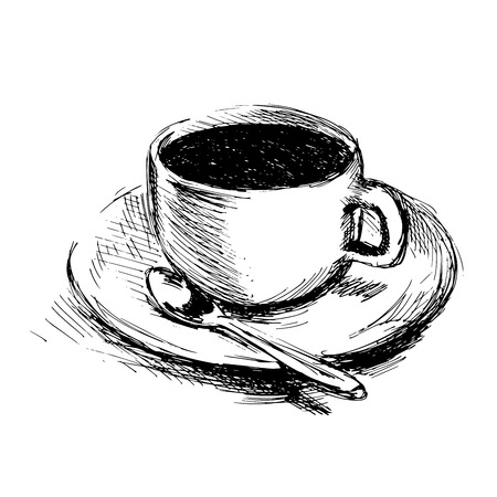 Hand drawing coffee cup. Vector illustration