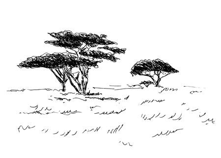 아프리카 풍경의 손 스케치 일러스트
