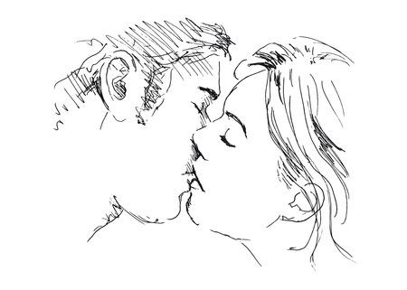 Hand drawing kiss