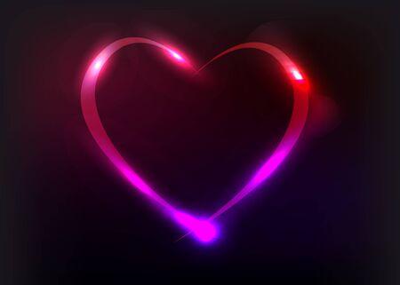 벡터 심장 그림 빛의 효과와 함께