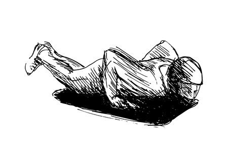 luge: hand sketch skeleton