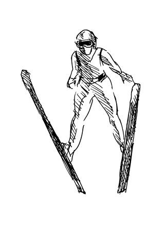 hand sketch ski jumper Vector
