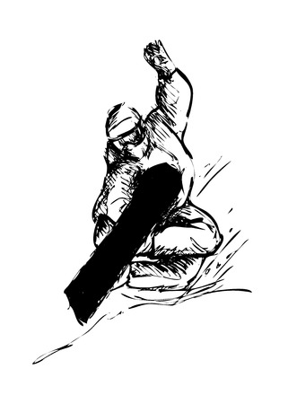 hand sketch snowboarder Illustration