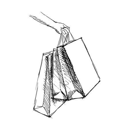 hand sketch hand with shopping bags