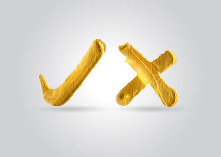 Golden check mark. Vector illustration