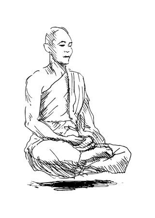 man meditating: hand sketch meditating monk