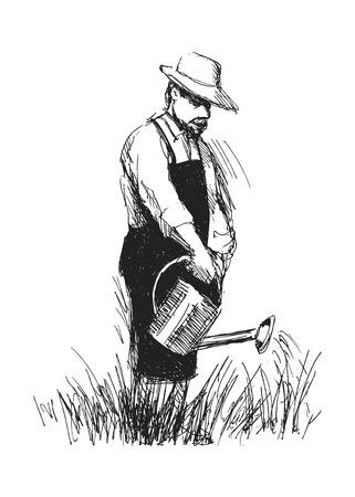 hand sketch gardener Stock Illustratie