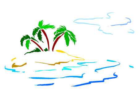 sea shore: color sketch of the island with palm trees