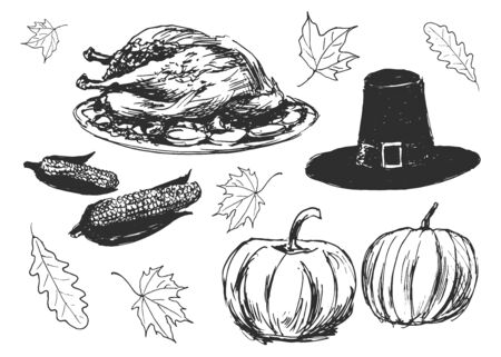 thanksgiving meal: vector set of sketches on the thanksgiving day