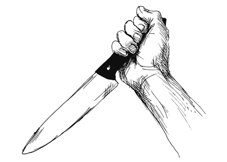 female assassin: hand sketch of hand with a knife